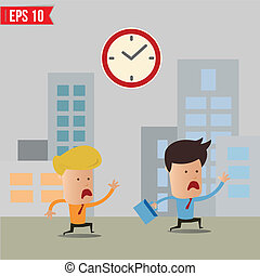 Business man running during rush hour - Vector illustration...