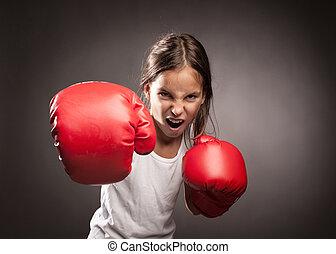 little girl boxer - little girl wearing red boxing gloves
