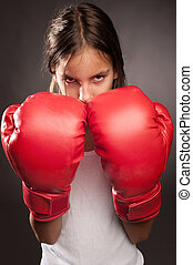 little girl boxer - little girl wearing red boxing gloves