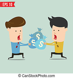 Cartoon business man snatching money - Vector illustration -...