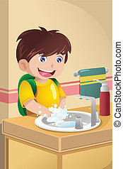 Little boy washing hands - A vector illustration of cute...