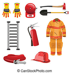 Firefighters icons - A vector illustration of firefighters...