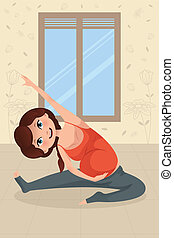Pregnant woman doing yoga exercise - A vector illustration...