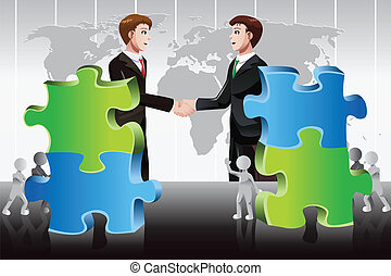 Business merger concept - A vector illustration of business...