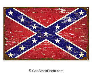Confederate Flag Enamel Sign - Confederate flag on rusty old...