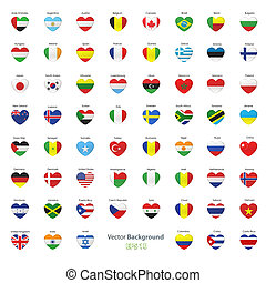 Set of flags heart. Vector design