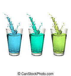 Colorful splash water glass. Vector design