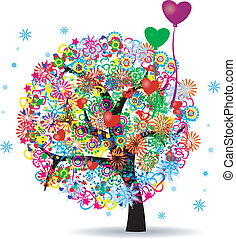 The Tree Of Life With Balloons - Vector Illustration Of Tree