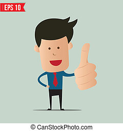 Cartoon business man showing thumbs up - Vector illustration...