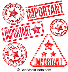 Important Rubber Stamps - Rectangular, triangular and round...