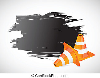 ink banner and construction cones illustration banner over...