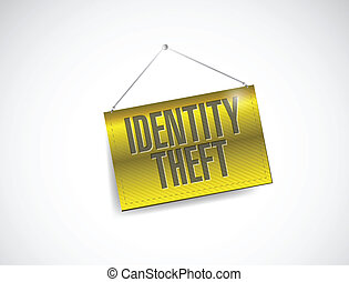 identity theft hanging banner illustration design over a...