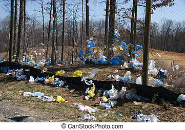 Plastic bags landfill - Plastic bags in the landscape found...