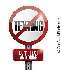 no texting road sign illustration design over a white...
