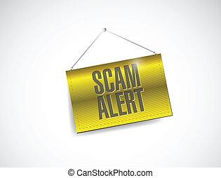scam alert hanging banner illustration design