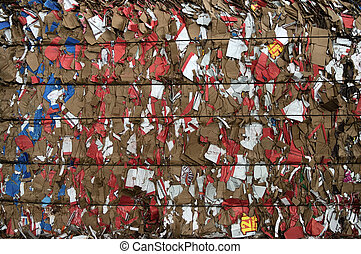 Paper red pieces - Bale of compressed paper for recycling