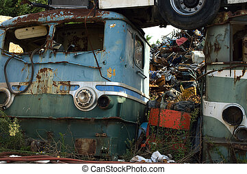 Old locomotive - Abandoned vintage locomotives in a junkyard