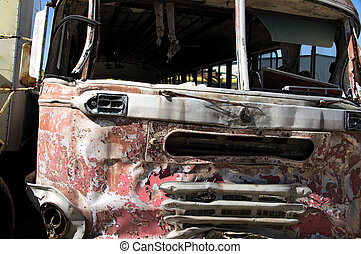 Old bus front - An old bus seen in a junkyard