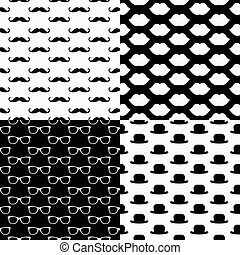 Hipster Seamless Pattern Set - Vector Hipster Seamless...
