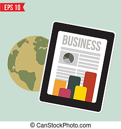 Business news on mobile device   - Vector illustration - EPS10
