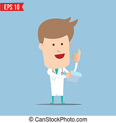 Doctor analyse a report - Vector illustration - EPS10