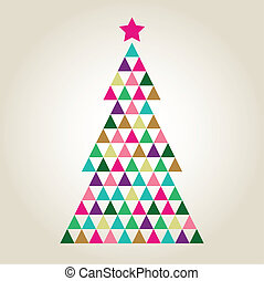 Xmas colorful mosaic tree with triangle shapes. Vector Illustration