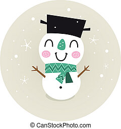 Cute retro Snowman boy in circle isolated on beige