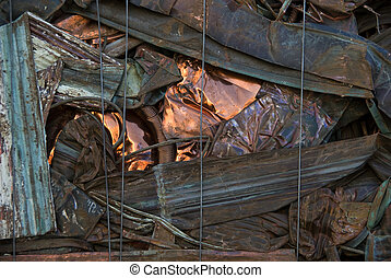 Copper sidings - A bale of recycled copper from a scrap yard