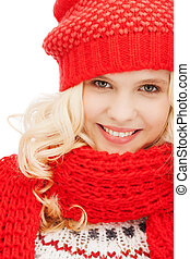 teenage girl in red hat and scarf - winter, christmas, xmas,...