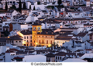 Old town of Antequera at dusk. Andalusia, Spain