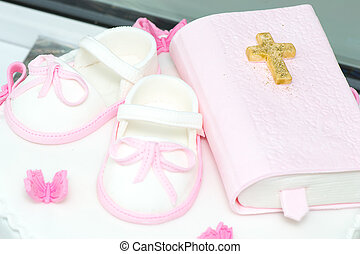 Christening cake decoration - child shoes and prayer book