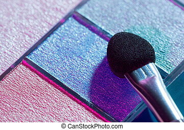 Eye shadows with applicator closeup