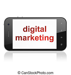 Marketing concept: Digital Marketing on smartphone -...