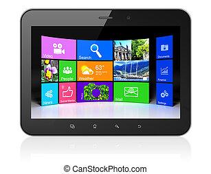Desktop on black tablet pc computer
