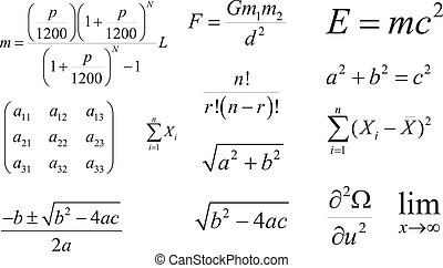 Mathematics formulas vector - Mathematics and Physics vector...