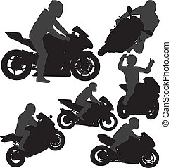 Biker vector silhouettes - Motorcycle rider silhouettes set....