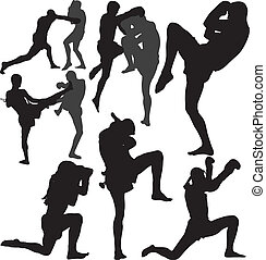 Muay Thai vector silhouettes - Muay Thai Thai Boxing fight...