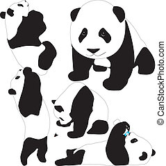 Panda babies vector silhouettes. Layered. Fully editable.