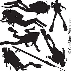 scaphandre, plongeur, vecteur, silhouettes