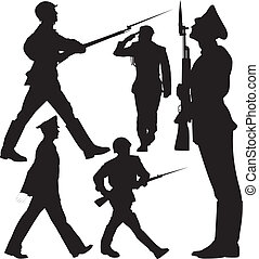Soldiers vector silhouettes - Soldiers marching and sentry...