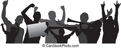 Cheering crowd vector silhouettes - Cheering crowd or sports...