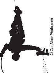 SWAT team soldier vector silhouette - SWAT team soldier...