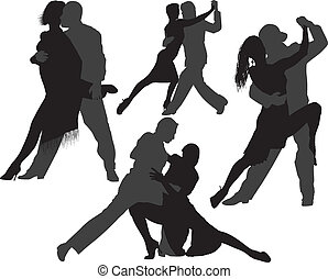 Tango, dança, vetorial, silhuetas