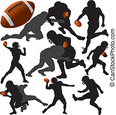 American Football Vector Silhouettes Layered Fully Editable...