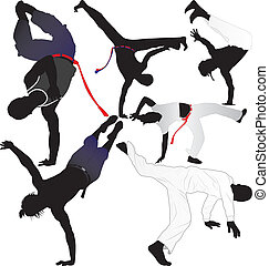 Capoeira fighter vector silhouettes on white background...