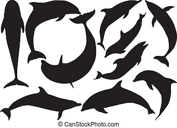 Dolphins vector silhouettes on white background. Layered....