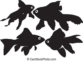 Goldfish vector silhouettes on white background. Layered....