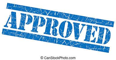 Approved grunge blue stamp
