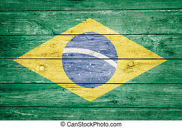 brazilian flag on wood