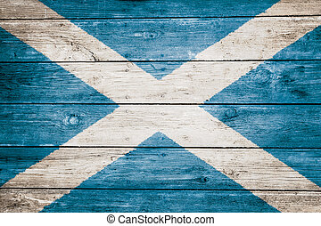 scottish flag on wood texture background